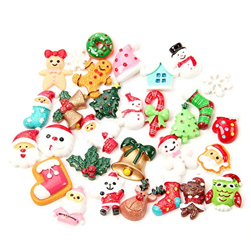 50pcs Christmas Charms Resin Saint Santa Snowman Tree Bell Deer Candy Cane Flatback Beads for Handcraft Christmas Indoor Outdoor Decoration