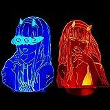 3D Anime veilleuse zéro deux Figure lampe chéri dans la veilleuse Xxx enfants enfant filles chambre décor lumière Manga cadeau lampe-télécommande