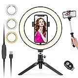 OMEW - Anillo para selfies con trípode ajustable, 120 LED de 26 cm, 3 modos de luz anular, soporte para móvil para YouTube Video, Streaming Live, Tik Tok, maquillaje, fotografía