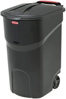 45 Gallon Black Trash can with lid Trash can with Wheels Trash can Outdoor Plastic Trash can with lid Kitchen Outdoor Tras...