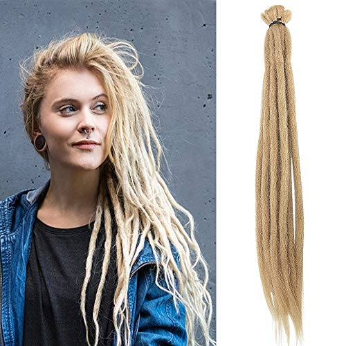 Noverlife 10 Strands 50cm/20' Blonde Dreadlock Extensions, Single Ended Crochet Synthetic Dreadlocks Accessories, Jamaica Punk Hip-Hop Reggae Hair Braiding Wigs Faux Locs for Fashion Men Women