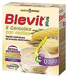 Blevit Plus Duplo 8 Cereales con Natillas - Papilla de Cereales para Bebé con Extra de Calcio - Favorece la Digestión - Desde los 5 meses - 600g