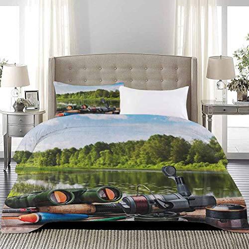UNOSEKS LANZON - Copripiumino per letto in tre pezzi, motivo: attrezzatura da pesca su un lago di pontoon nei boschi, alberi e verdure, motivo hobby di acqua dolce
