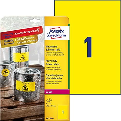 AVERY Zweckform L6111-8 Wetterfeste Folienetiketten (210x297 mm auf DIN A4, extrem stark selbstklebend, wasserfest, bedruckbare Outdoor Klebefolie) 8 Aufkleber auf 8 Blatt gelb