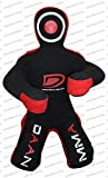 DAAN MMA Grappling Dummy - Judo Punching Bag, Unfilled -Sitting Position - Brazilian JIU Jitsu Submission Grappling Dummy Sitting Dummy Wrestling Dummy (Canvas Red, 70' Up to 121 lb – Unfilled)