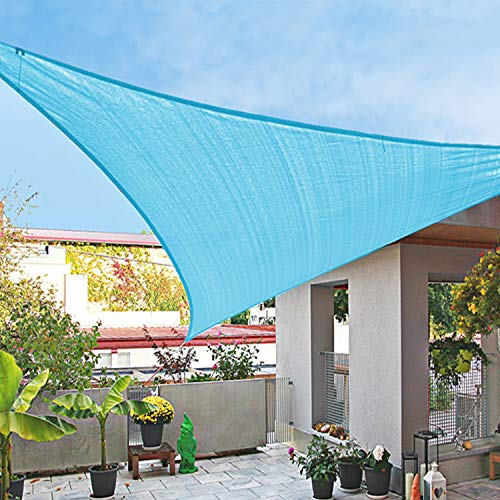 HERAHQ Kit de parasoles triangulares de vela para el sol, tela impermeable, pantalla de tela 95% bloqueador solar, toldo para jardín, playa, patio, patio, fiesta, azul claro, 4 x 4 x 4 m