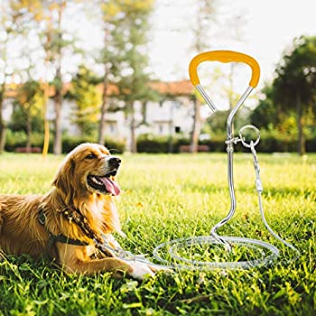 Câble d'attache pour Chien Et Jeu de Piquets Au Sol Ancre en Spirale Feild Laisse en Fil d'acier Robuste pour Jouer dans Le Jardin Cour Extérieure Camping Petit Grand Animal de
