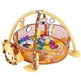 Greensen Spieldecke mit Spielbogen Krabbeldecke Erlebnisdecke Baby Spiel Aktivität Gymnastikmatte mit Schutzgitter Mesh Bunte Bälle Spielzeug Spielbogen Lernmatte Baby Spieldecke