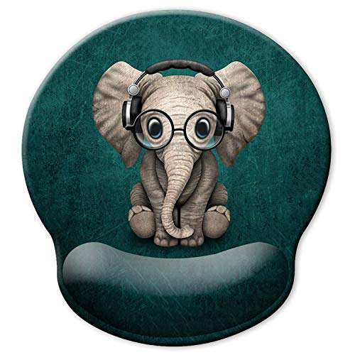 ITNRSIIET [30% Larger] Ergonomic Mouse Pad with Gel Wrist Rest Support, Personalized Cute Green Pattern Headset Music Elephant, Pain Relief Comfort Wrist Rest Pad with Non-Slip PU Base for Home Office