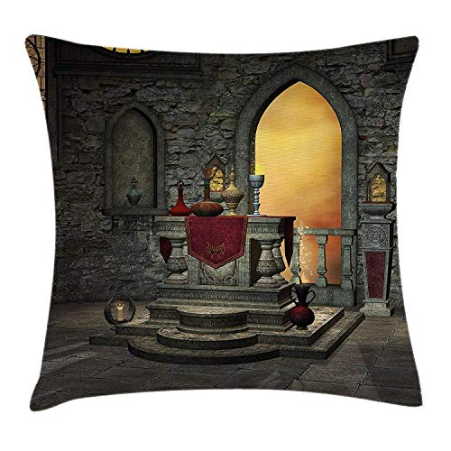 HiExotic Taie d'oreiller Handmade Gothic Pillow Case Ancient Altar Table in Castle Baroque Era Inspired Alchemy Wizard Design 18 X 18 in,Eco-Friendly