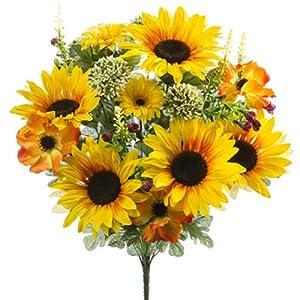 SilksAreForever 21.5″ Sunflower, Anemone & Daisy Silk Flower Bush -Yellow/Orange (Pack of 6)