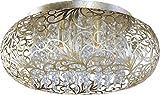 Maxim 24150BCGS Arabesque 7-Light Flush Mount, Golden Silver Finish, Beveled...
