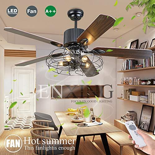 Deckenventilator Licht Mit Beleuchtung Und Fernbedienung Dimmbar E27 Fan Deckenleuchte LED Fan Kronleuchter Loft Lüfter Deckenlampe Retro Wohnzimmer Schlafzimmer Esszimmer Lüfter Stumm Lüfter Lampe