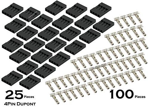 Hayatec Kit con 25 alloggiamenti per cavo ponticello Dupont a 4 pin passo 2,54 mm e 100 connettori omaggio Black Pack of 50