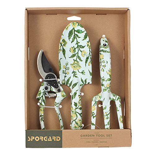 Sporgard 3 Piece Aluminum Garden Tool Set with Floral Print - Trowel, Cultivator, Pruning Shear - Gardening Gift for Women and Men