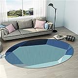 Alfombras Dormitorio Pie De Cama Modelo geométrico irregular azul sala de estar ovalada alfombra estilo simple Alfombras Salon Lavables En Lavadora Alfombra Dormitorio Matrimonio azul El 120X160CM
