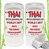 2-PACK Thai Crystal Deodorant Stone Natural Unscented Deo Stick (4.25 Oz) Aluminum Free Salt Deodorant for Women Men & Teens