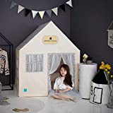 "Petite Maison Kids Play House Toy Tent (41"" x 41"" x 51""), 100% Natural Cotton Hand Made Premium Quality Playhouse for Indoor & Outdoor, Sturdy Safe Aluminum Structure, Easy Assembly - Blossom Beige"