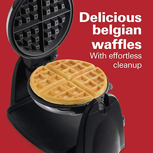 Hamilton Beach Flip Belgian Waffle Maker with Removable Plates, Nonstick, 7 Round, Stainless Steel (26030),