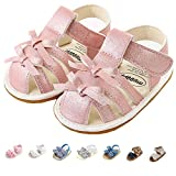 Infant Baby Girls Sandals, Premium Soft Rubber Sole Anti-Slip Summer Toddler Flats First Walkers Shoes Pink Bow Infant 6-12 Months nt 12cm