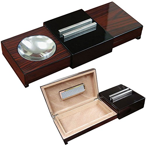 Prestige Import Group 2-in-1 Ashtray with Hidden Cigar Humidor - Stores up to 5-7 Cigars - Color: Brazilian Wood & Black Lacquer Finish