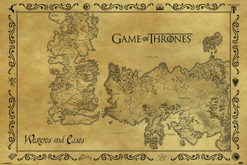 Game of Thrones Poster con diseño Antique Map, multicolor, 61 x 91.5 cm