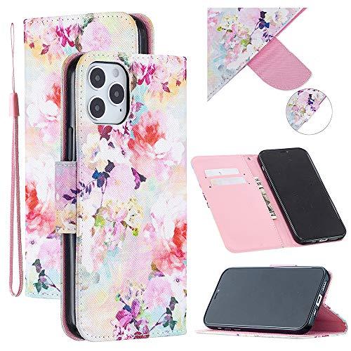 Funda para Apple iPhone 12 Pro/iPhone 12 Max 6.1 pulgadas Flip Case con ranuras para tarjetas, [Proteger pantalla y cámara] Correa de muñeca TPU Cartera Bumper Cover (Flores)
