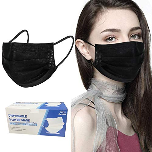 Two Years 10 Colors 3-Ply Disposable Face 𝙈𝙖𝙨𝙠𝙨, Elastic Ear Loop 3-Layer Face Shield for Adults, Breathable Comfortable Mouth Coverings for Home & Office (Black, 50)