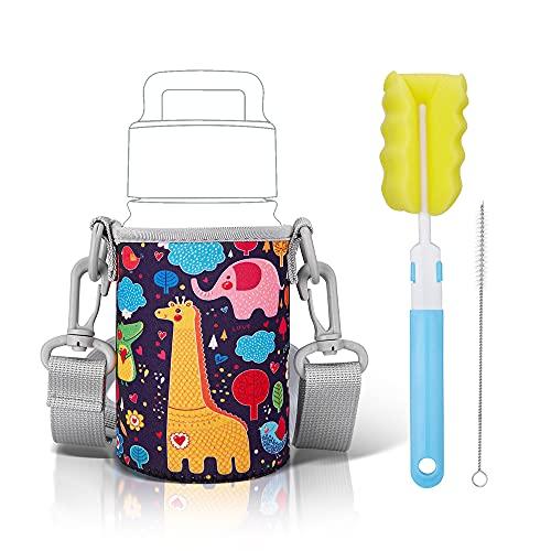 Neoprene Bottle Sleeves Cover for Kids Water Bottles 10-14 oz,Portable Water Bottles Holder Set(Bottle Holster,Clean Brush,Straw Clean Brush),Bottle Carrier with Adjustable Straps for Travel,Black