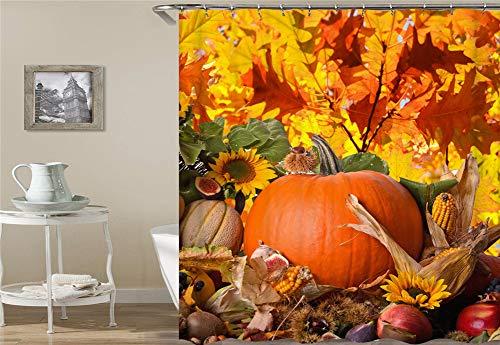 Kürbis. Gefallene Blätter. Apfel. Mais. Duschvorhang 180X180Cm. Wasserdicht Und Leicht zu pflegen. 3D Hd-Druck. Freier Haken.