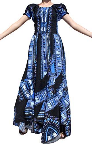 RaanPahMuang Africa Dashiki Black Baby Doll Full Wild Smock Waist Ladies Dress