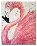 HVEST Flamingo Canvas Wall Art Pink Bird Framed...