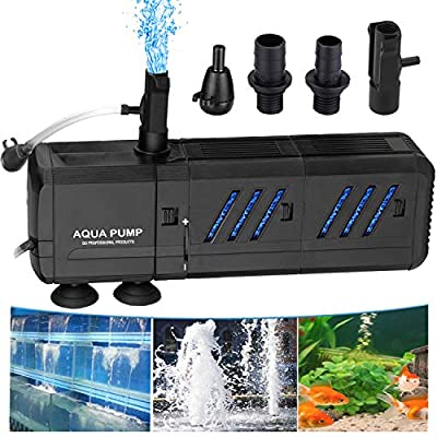 Thanger Filtering Water Pump 400 GPH Fountain Pump (1500L/H), Submersible Water Circulation System Oxygen Charging WaveMaker Water Pump for Large-Sized Fish Tanks, Aquarium, Ponds