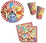 Winnie The Pooh Party Pack 8 Large Plates, 8 Cups and 20 Serviettes