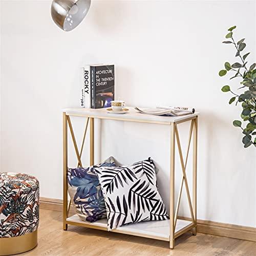 SHUJINGNCE Table de la Console de 2 Niveaux de Table d'entrée de Table d'entrée Table d'entrée de Table de Table de Table de Table de Table avec Fausse marbre et Cadre en métal doré pour la Maison