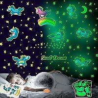 YIBOKANG ユニコーンウォールステッカーで子供部屋装飾自己粘着ステッカーは漫画ファンタジー星を蛍光発光星の1セット