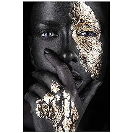 African Art Black and Gold Woman Oil Painting on Canvas Cuadros Posters Girl Canvas Print Scandinavian Wall Art Picture for Girls Living Room Bedroom Decoration
