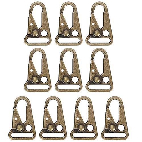 MOPOIN Mund-Clips Haken, 10 Stück Haken Sling Clips Taktische Karabiner Schlüsselanhänger, Clips Haken für Bergsteigen, Camping, Wandern, Jagen, Schießen, Outdoor Aktivitäten, Bronze