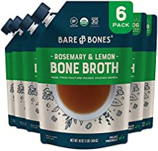 Bare Bones Rosemary & Lemon Chicken Bone Broth for Cooking and Sipping, Pasture Raised, Organic, Protein and Collagen Rich, Keto Friendly, 16 oz, Pack of 6