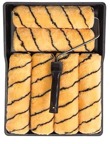 Bizwizz Farbroller-Set mit Tablett und 6 Hülsen, Emulsionsroller-Set, Farbroller und Tablett für Wandfarbe, Performance-Emulsionsroller, 229 mm, Tigerstreifen, 8-teiliges Farbroller-Set
