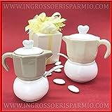 Set da caffè con zuccheriera e lattiera in ceramica completo di cucchiaino, assortito in 2 colori, bomboniere matrimonio originali, completo di scatola regalo (standard-con confezione verde)