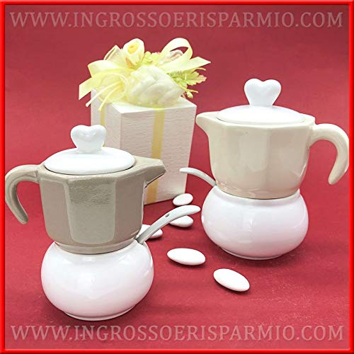 Set da caffè con zuccheriera e lattiera in ceramica completo di cucchiaino, assortito in 2 colori, bomboniere matrimonio originali, completo di scatola regalo (standard-con confezione tiffany)