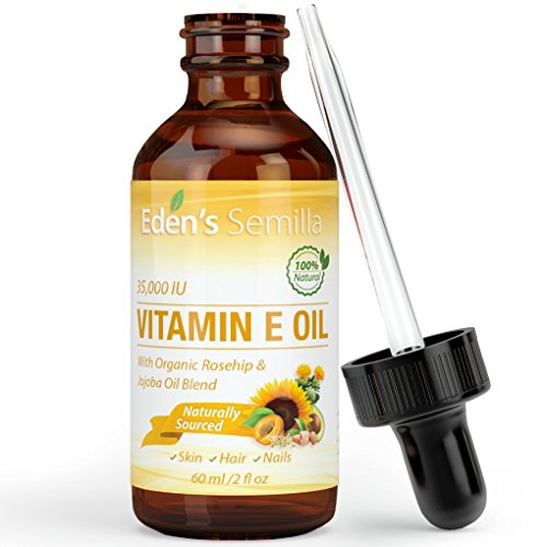 100% Plant Extract Vitamin E Oil 35,000 IU + Organic Rosehip & Jojoba Blend - 2 OZ Bottle. Fast Absorbing Skin Protection for Face & Body. Pure Ingredients - Ideal for Sensitive Skin - Use Daily