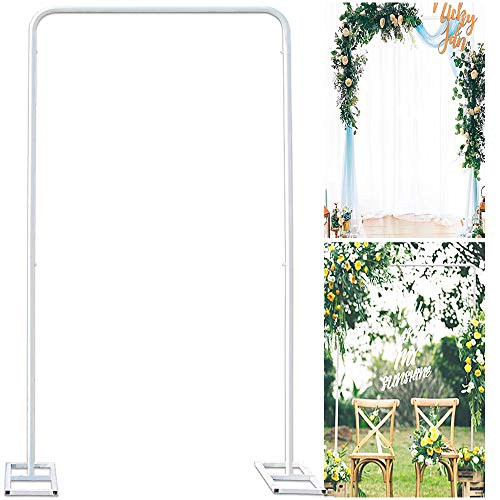 Wedding Arch Stand with Bases,Easy Assembly 6.6 x 3.3 Feet Square Garden Arch Metal Abor for Weddings Quinceaneras Party Event Decoration(White)