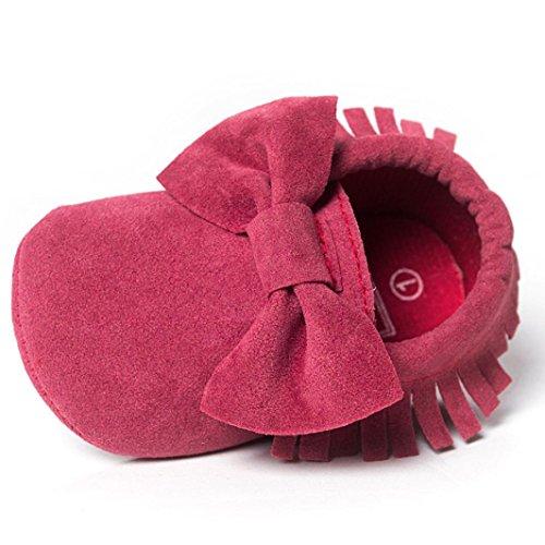 Chaussures de Bébé en Bas Age,LMMVP Bébé Glands de Crèche Bowknot Chaussures Baskets Enfant en Bas Age Chaussures de Gommage Décontractées (13, Mode rose vif)