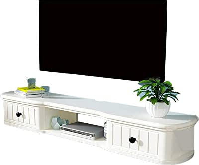 TV Cabinet, TV Lowboard, Floating Shelves, Floating TV Stand Component Shelf, 40.1/48/55.9 inch Wall Mounted TV Media Console, Natural Pine Wood/Piano Paint Coating, Easy to Install.