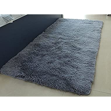 ACTCUT Ultra Soft 4.5 Cm Thick Indoor Morden Shaggy Area Rugs Pads, Fashion Color Bedroom Livingroom Sitting-room[Rugs Blanket Footcloth for Home Decorate Size: 2.5 Feet X 5 Feet (Grey)
