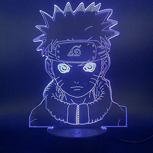 Naruto 3D Lights Lámpara de ilusión LED para niños Lámpara de mesa acrílica de Regalos de fiesta de cumpleaños para dormitorio de niño
