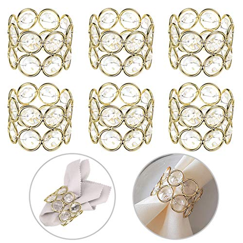 OwnMy Set of 6 Crystal Beads Napkin Rings Handcraft Sparkly Elegant Napkin Holders for Wedding Party Dinner Table Decor (Golden Tone)