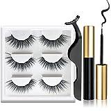 Magnetic Eyelashes with Eyeliner - Magnetic Eyeliner and Eyelashes Kit with Applicator - 3 Pair Reusable Eyelashes No Glue Needed